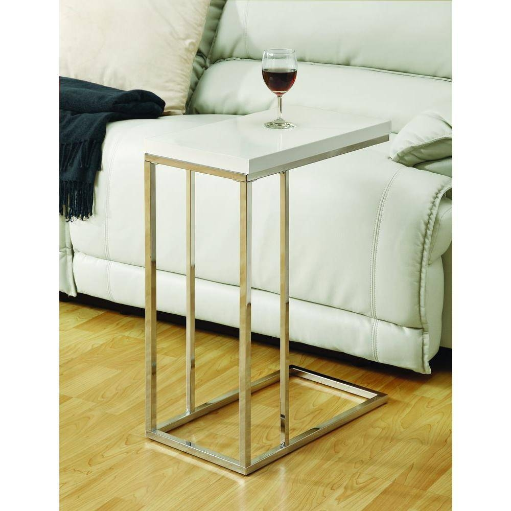 Monarch Specialties Glossy White End Table-I 3008 - The Home Depot for White and Chrome Coffee Tables (Image 21 of 30)