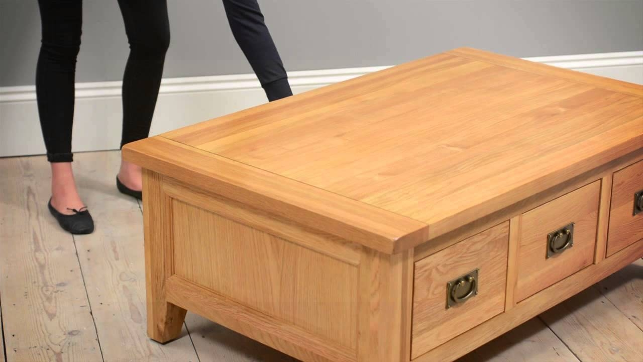 Montague Oak Lift Top Coffee Table – The Cotswold Company – Youtube For Coffee Tables With Lift Up Top (View 22 of 30)