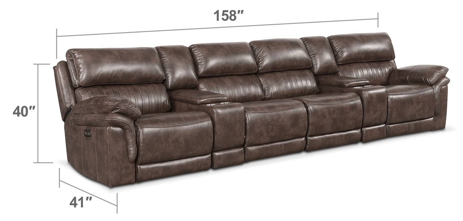 Monterey 6-Piece Power Reclining Sectional With 4 Reclining Seats intended for 6 Piece Leather Sectional Sofa (Image 22 of 30)
