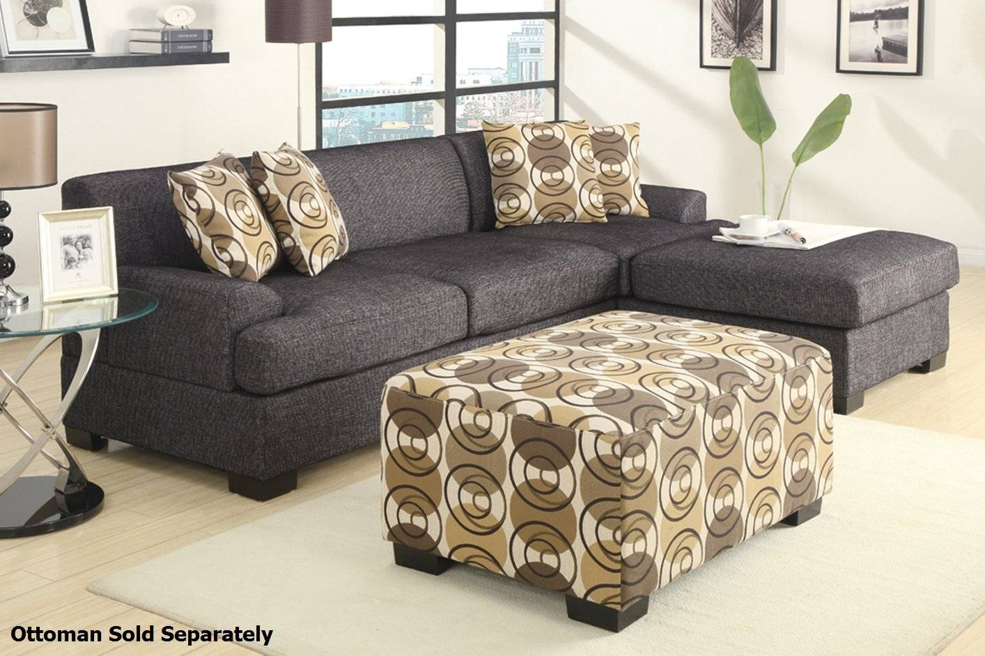 Montreal Ii Grey Fabric Sectional Sofa - Steal-A-Sofa Furniture intended for Fabric Sectional Sofa (Image 21 of 30)