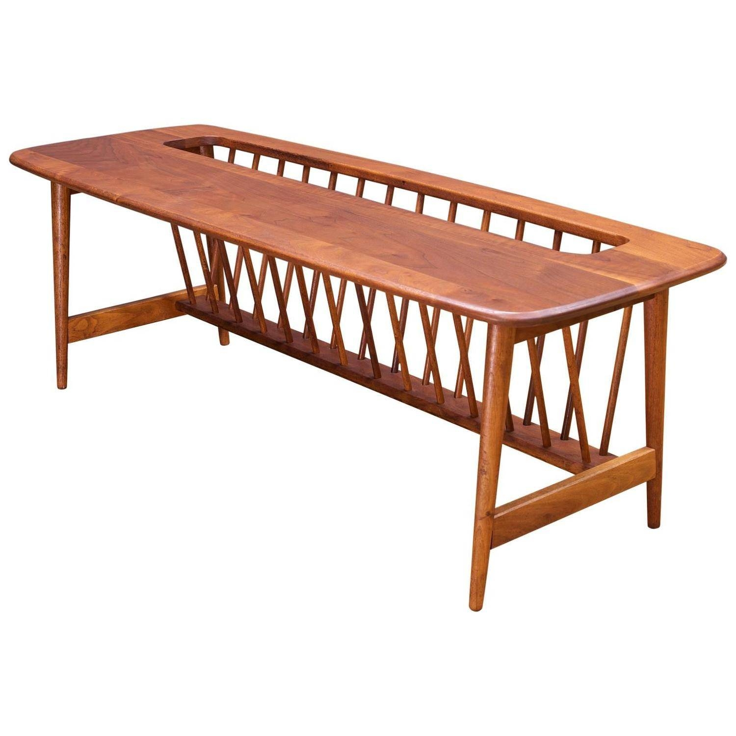 Monumental Cabin Modern Mid-Century Magazine Rack Walnut Long in Coffee Tables With Magazine Rack (Image 14 of 30)