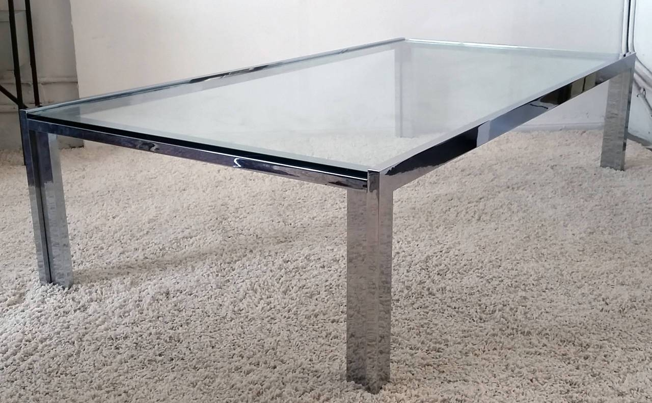 Monumental Mid Century Chrome And Glass Coffee Table Attributed To With Chrome Glass Coffee Tables (View 24 of 30)