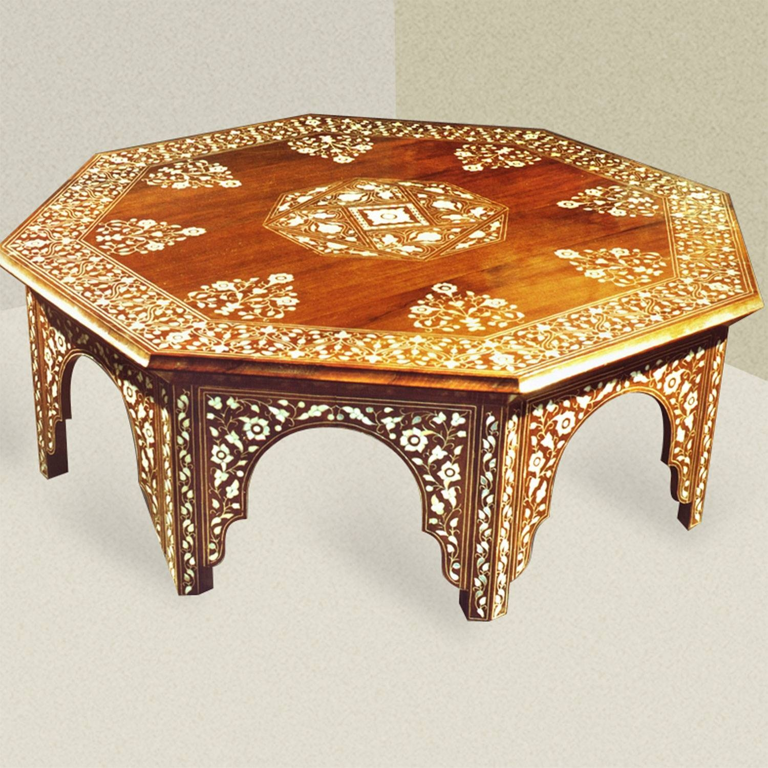 Moroccan Side Table. Round Moroccan Inlaid Coffee Table Cedar Wood in Mother Of Pearl Coffee Tables (Image 26 of 30)