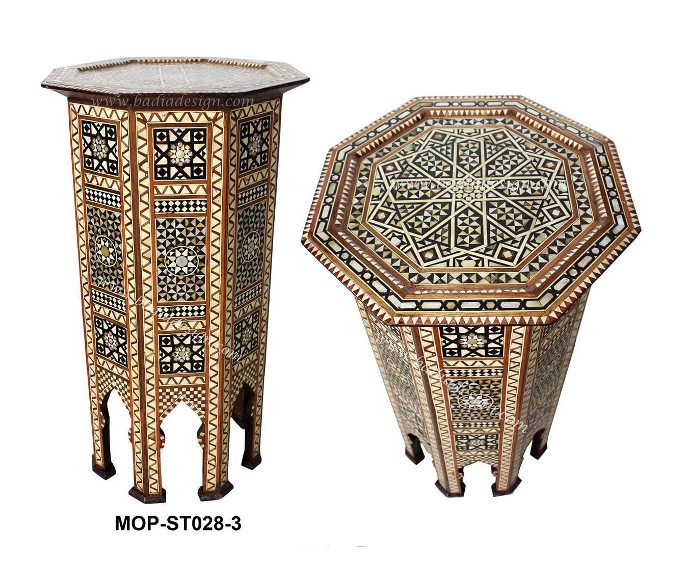 Moroccan Side Table. Round Moroccan Inlaid Coffee Table Cedar Wood within Mother of Pearl Coffee Tables (Image 27 of 30)