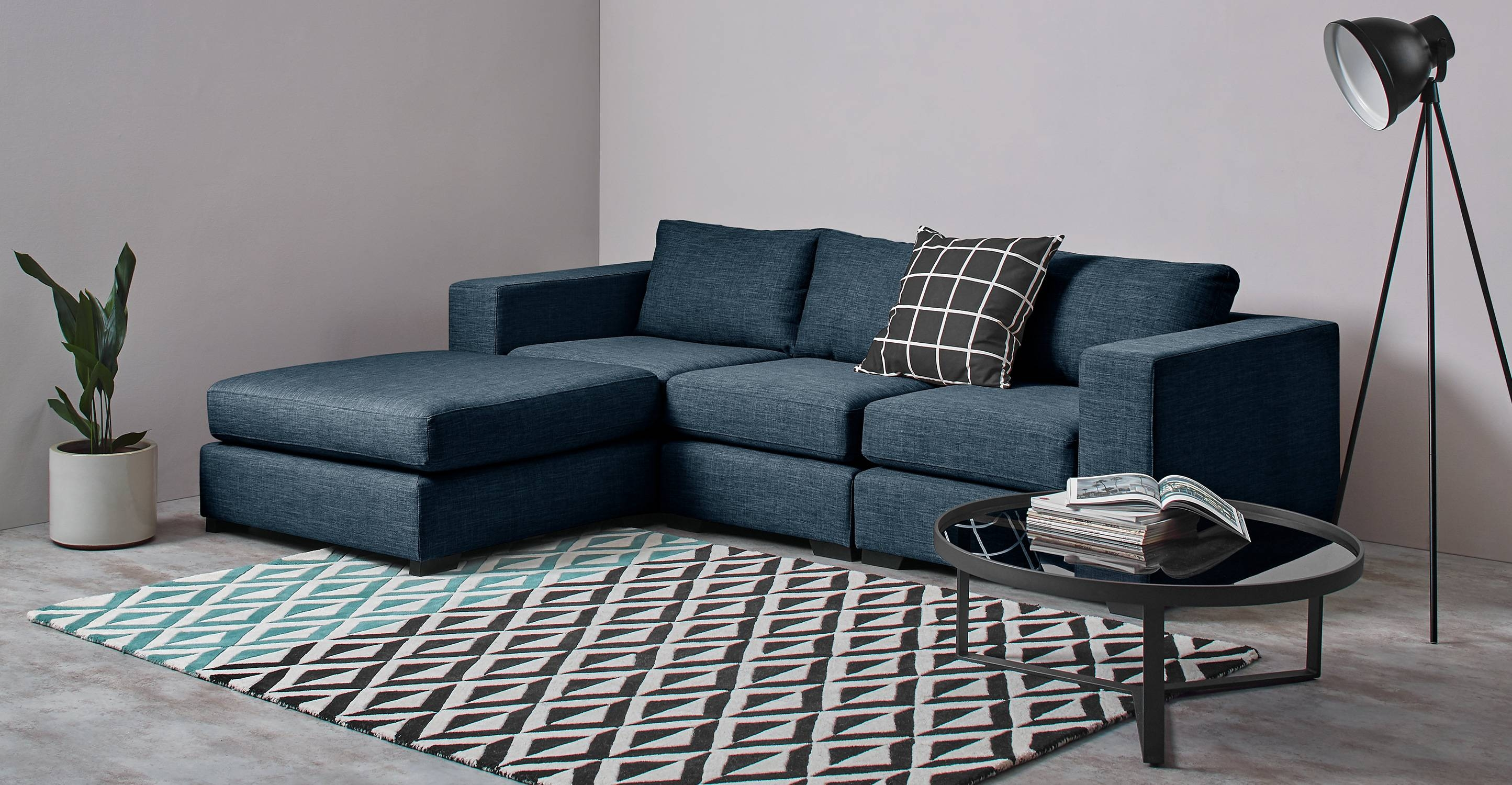 Mortimer 4 Seat Modular Corner Sofa, Harbour Blue | Made in Modular Corner Sofas (Image 26 of 30)