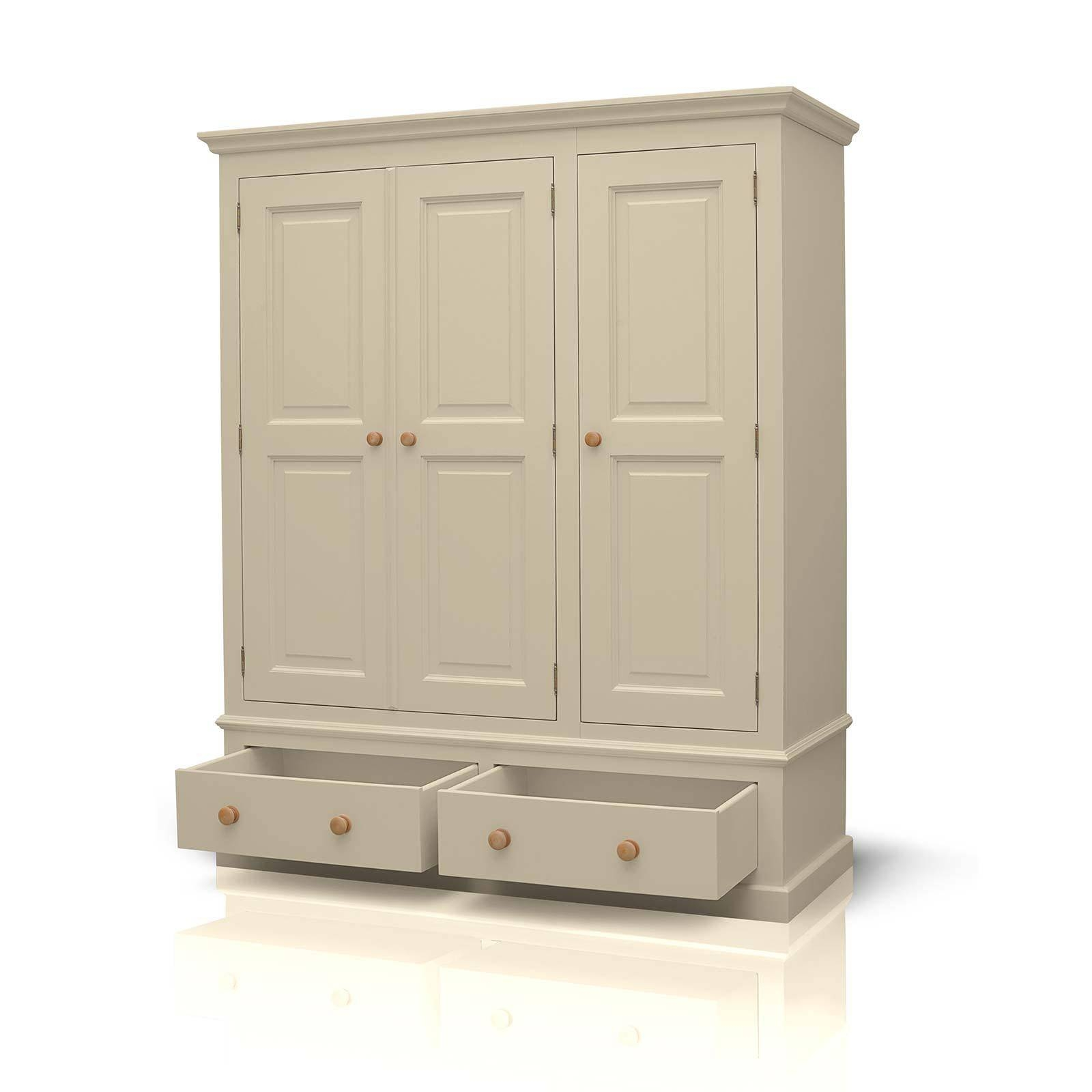 Mottisfont Painted Pine Triple Wardrobe 2 Drawers for Cream Triple Wardrobes (Image 11 of 15)