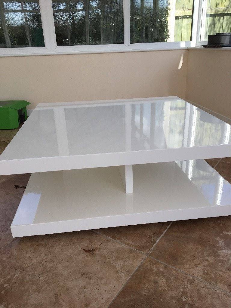 M&s Designer Goss White Coffee Table In Very Good Condition | In for M&s Coffee Tables (Image 12 of 30)