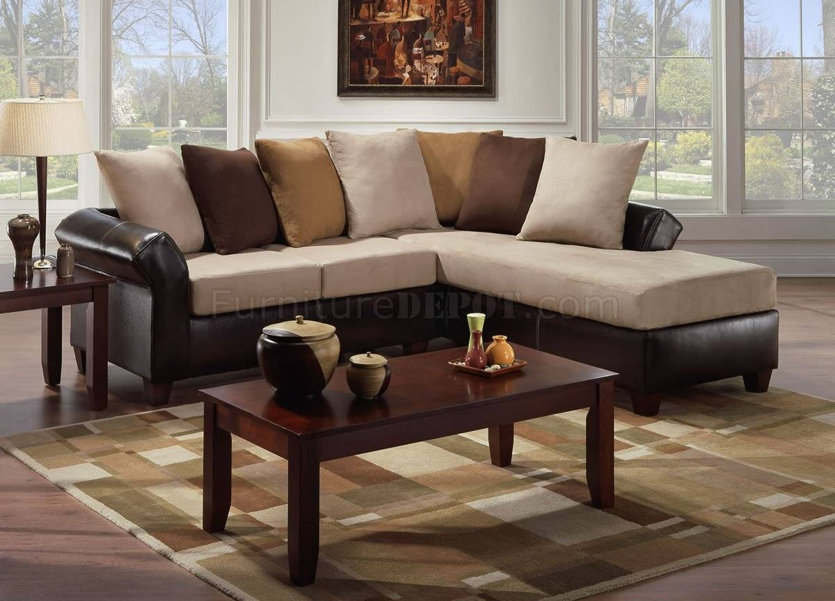 Multi-Tone Combo Microfiber Sectional Sofa W/optional Ottoman within Microsuede Sectional Sofas (Image 21 of 30)