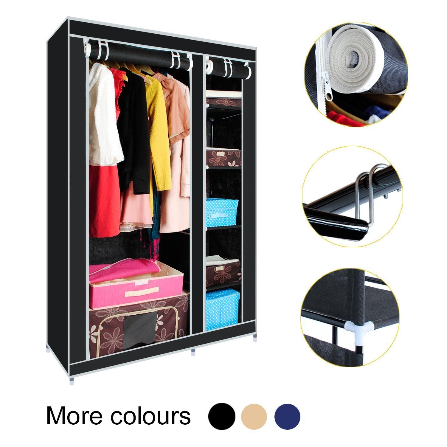 Multiple Color Double Canvas Wardrobe With Hanging Rail Home regarding Double Rail Canvas Wardrobes (Image 18 of 30)