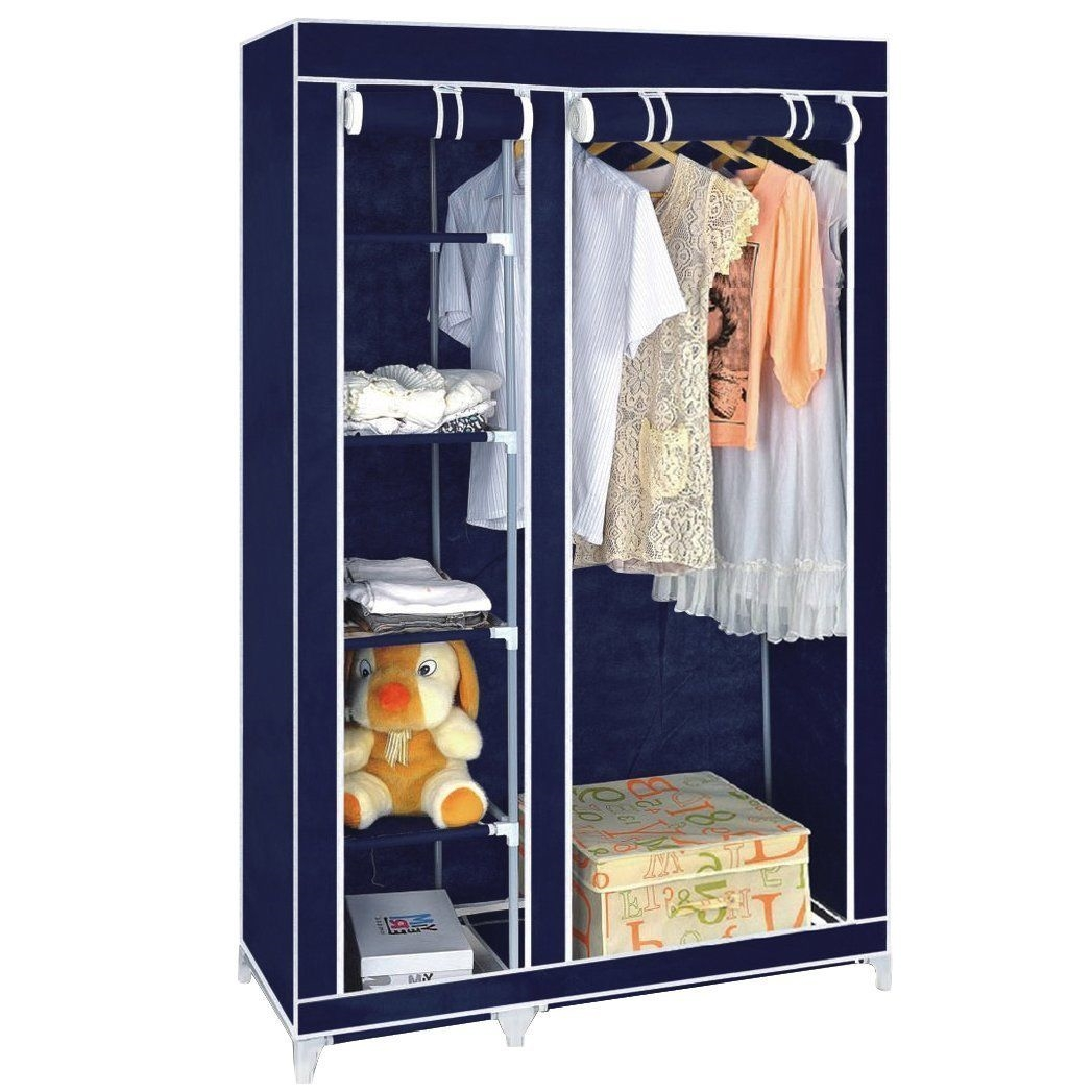 Multiple Color Double Canvas Wardrobe With Hanging Rail Home throughout Double Rail Canvas Wardrobes (Image 19 of 30)