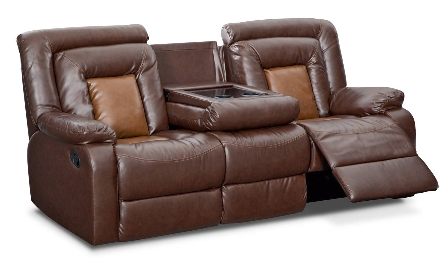 Mustang Dual-Reclining Sofa With Console - Brown | Value City throughout Recliner Sofa Chairs (Image 22 of 30)