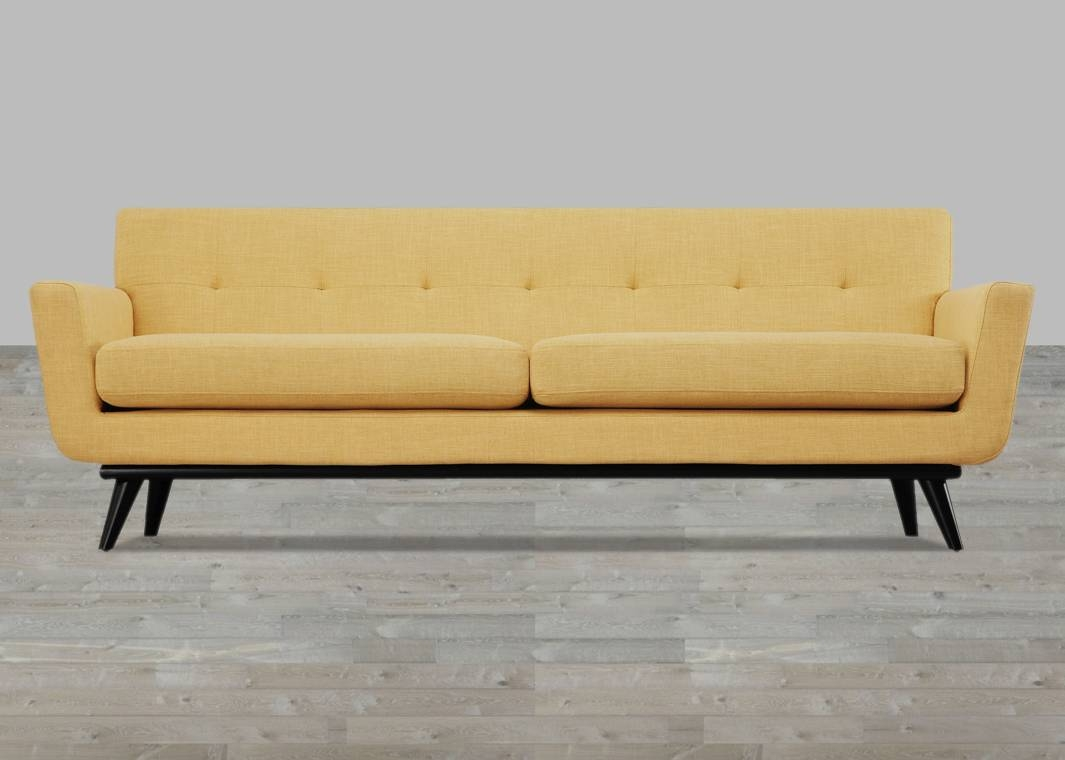 Mustard Yellow Linen Sofa Button Tufted in Tufted Linen Sofas (Image 23 of 30)