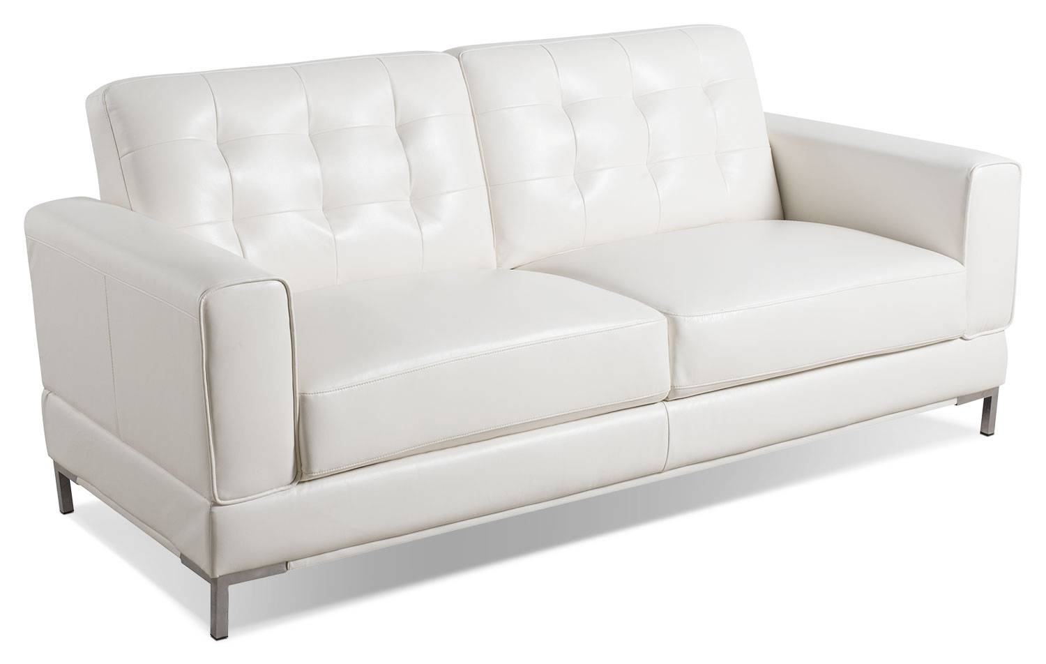 Myer Leather-Look Fabric Sofa - Cream | The Brick throughout The Brick Leather Sofa (Image 18 of 30)