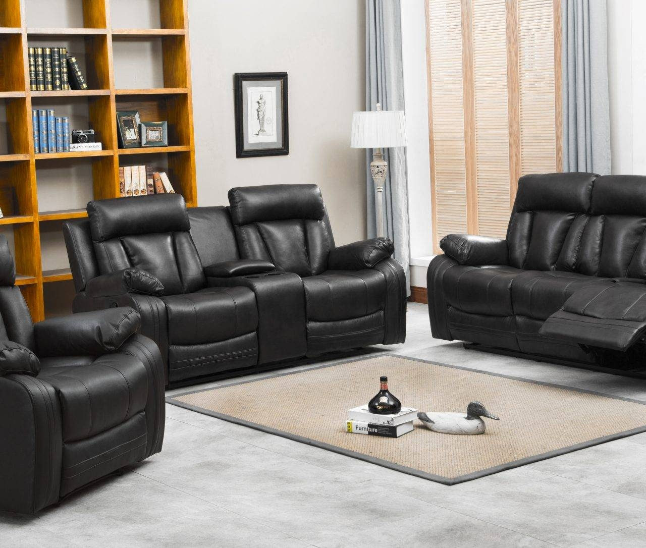 Naples Reclining Sofa & Loveseat W/cupholders And Console Set Pertaining To Sofa Loveseat And Chair Set (View 19 of 30)