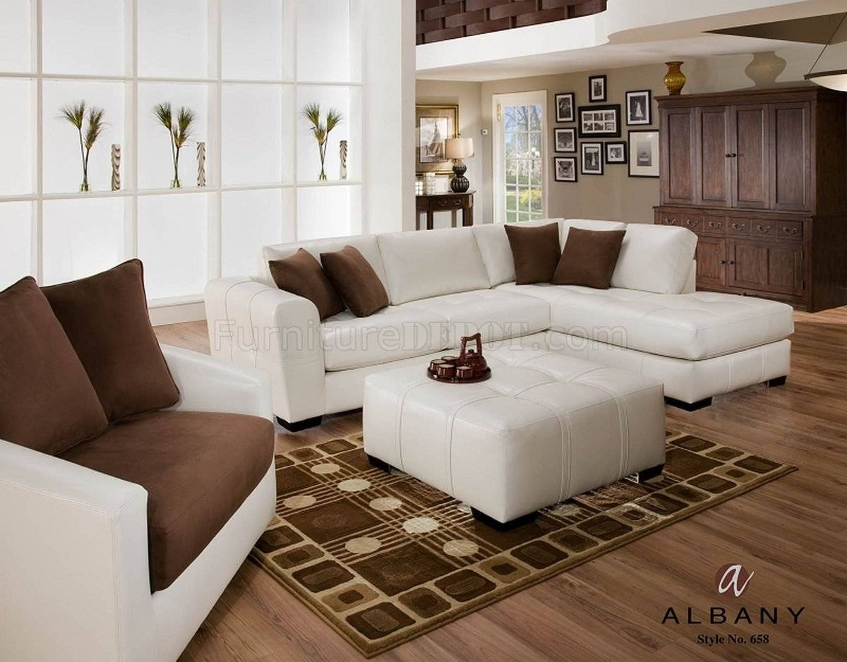 Naples White Leatherette Modern Sectional Sofa W/optional Items Intended For Albany Industries Sectional Sofa (View 18 of 30)