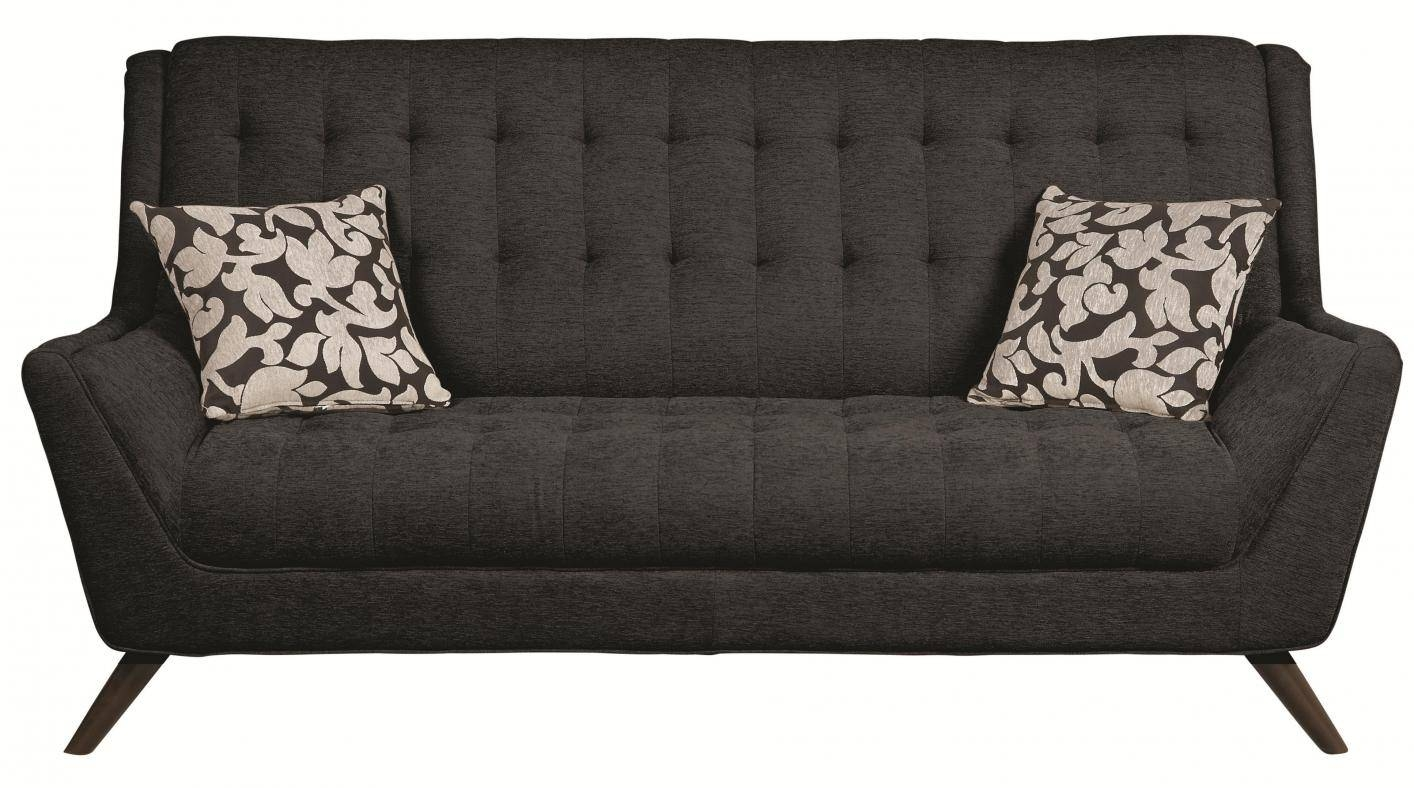 Natalia Black Fabric Sofa - Steal-A-Sofa Furniture Outlet Los throughout Fabric Sofas (Image 23 of 30)