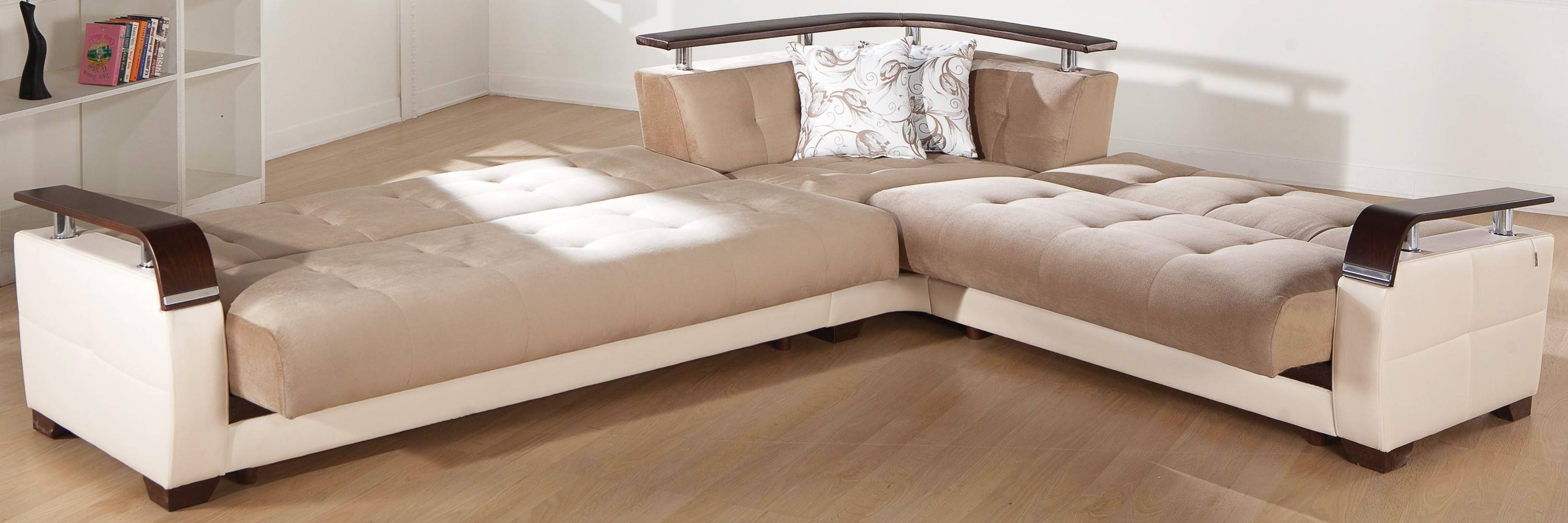 Natural Convertible Sectional Sofa In Naomai Light Brown with Convertible Sectional Sofas (Image 19 of 30)