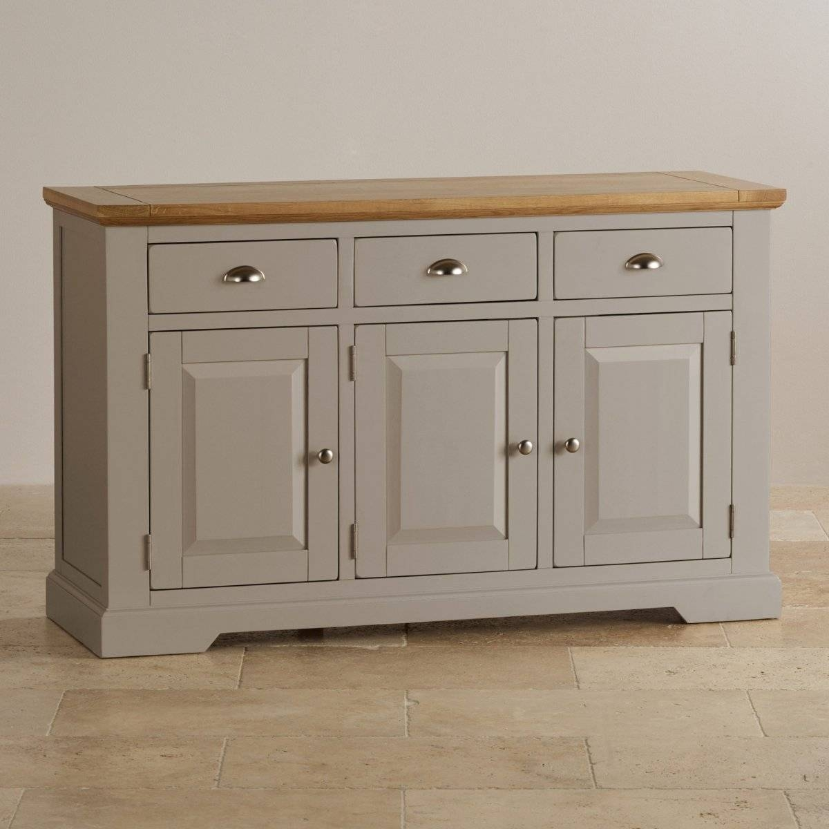 Natural Oak And Light Grey Painted Large Sideboard. for Grey Wood Sideboards (Image 13 of 30)
