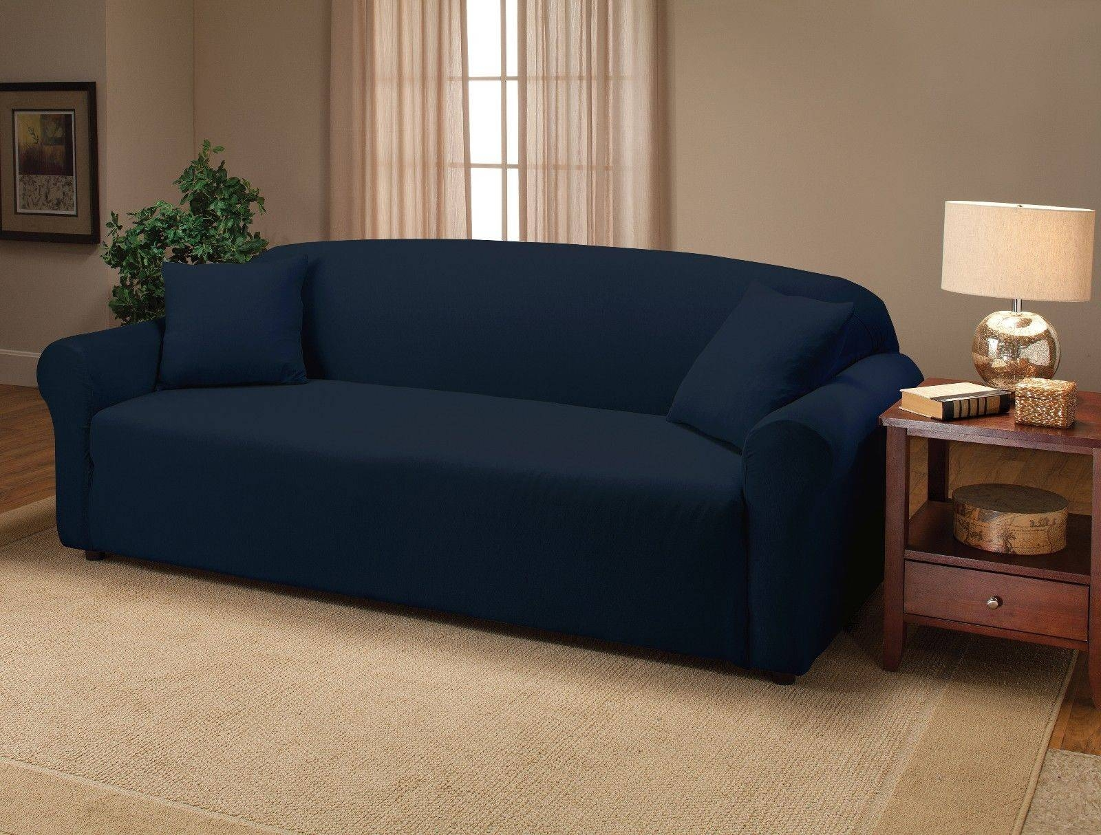 Navy Blue Jersey Couch Stretch Slipcover, Furniture Covers, Chair with Black Slipcovers For Sofas (Image 22 of 30)