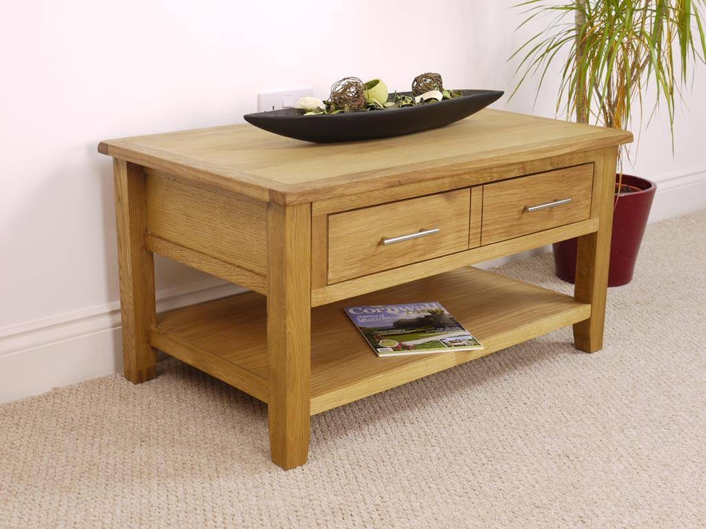 Nebraska Modern Oak Coffee Table With 1 Large Drawer & Shelf with regard to Oak Coffee Table With Drawers (Image 7 of 15)