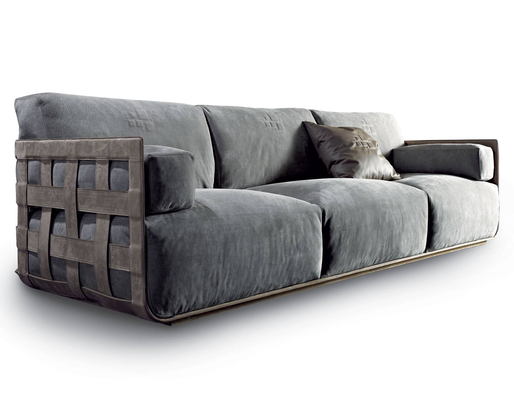 Nella Vetrina Rugiano Braid Grey Upholstered In Linen/velvet Sofa for Sofas And Chairs (Image 10 of 30)