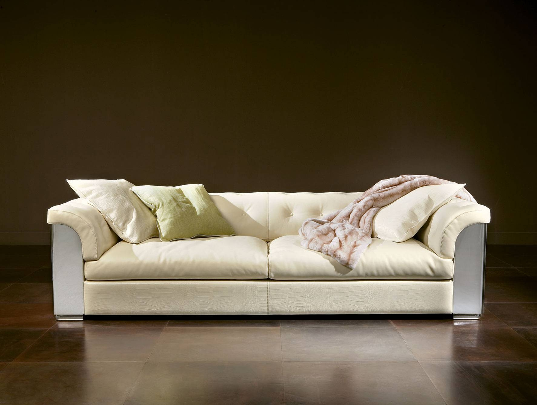Nella Vetrina Rugiano Mytos 6066 Upholstered Sofa In White inside Sofas and Chairs (Image 11 of 30)