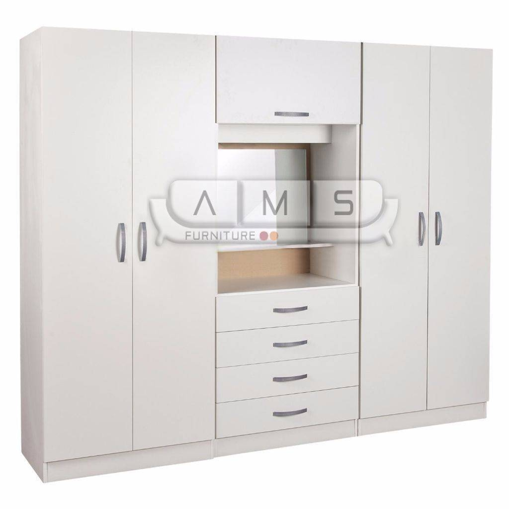 New 4 Door Wardrobe With Mirror, Shelves, Hanging Rails, Light pertaining to 4 Door Wardrobes With Mirror and Drawers (Image 12 of 15)