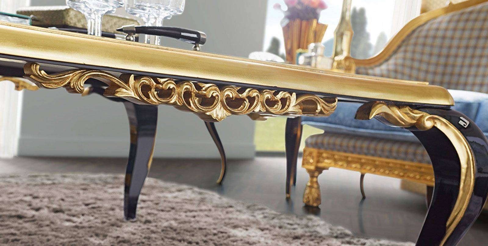 New Baroque Design Coffee Table / Glass / Square – Capri Throughout Baroque Coffee Tables (View 8 of 11)