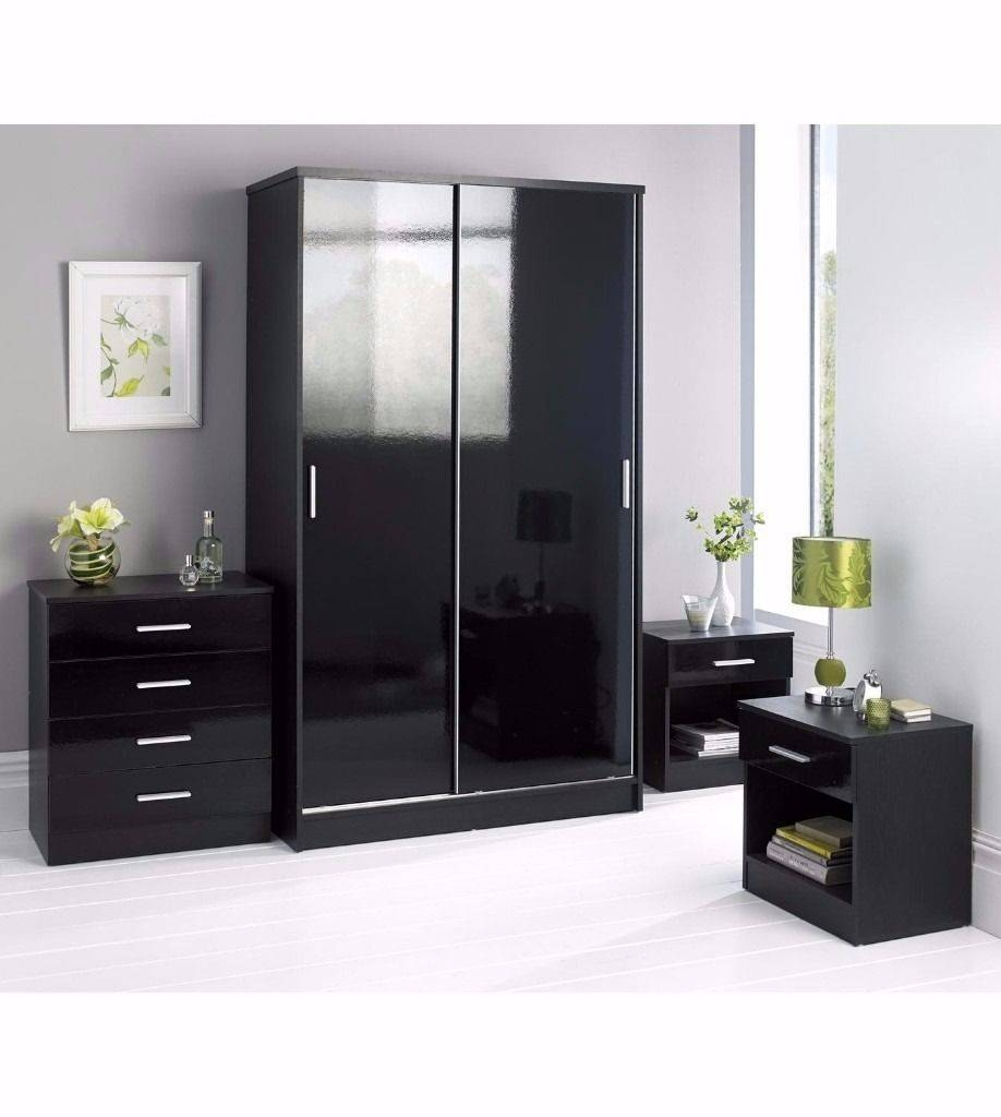 New Black 4 Piece Set With Sliding Wardrobe Chest Of Drawers 2 X inside Black High Gloss Wardrobes (Image 12 of 15)