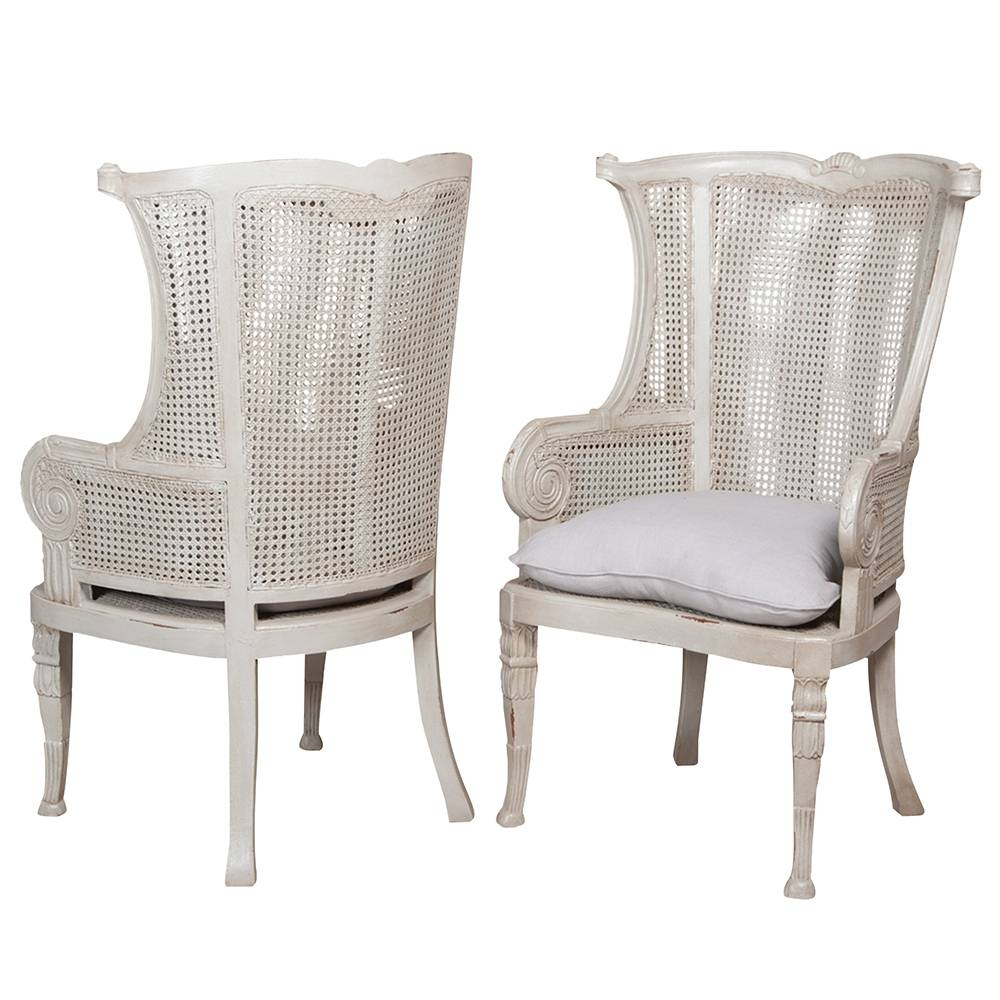 New Caned Wing Back Chair - White Washed with regard to White Cane Sofas (Image 22 of 30)