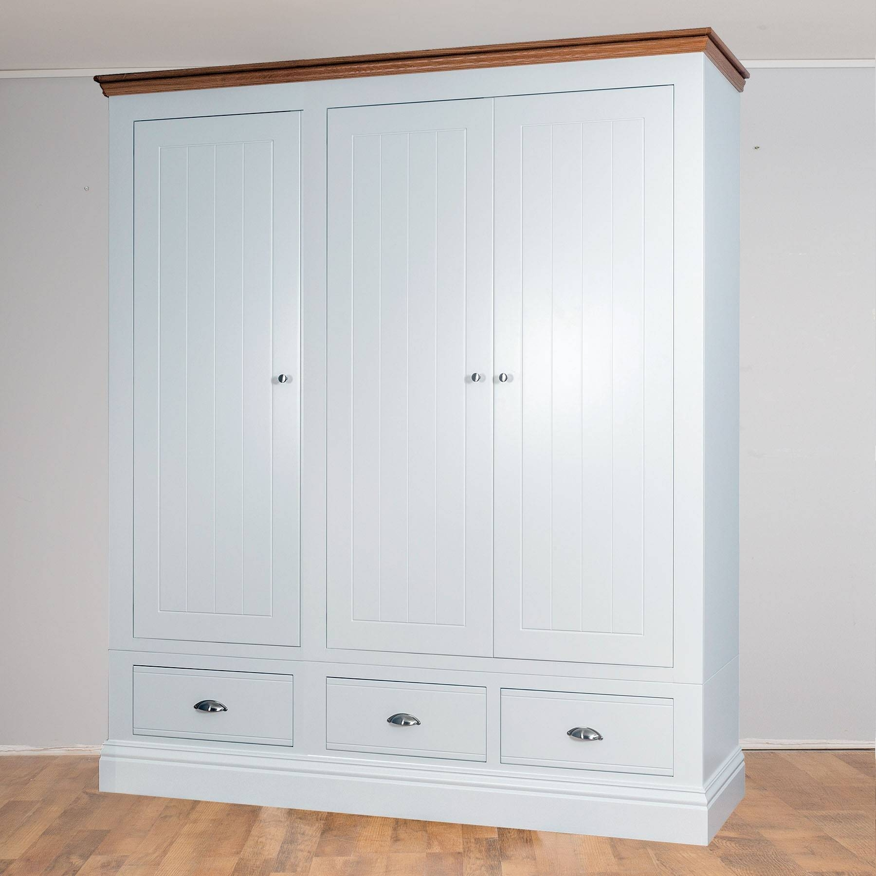 New England Painted 3 Door 3 Drawer Wardrobe In 2 Heights In 3 Door White Wardrobes With Drawers (View 7 of 15)