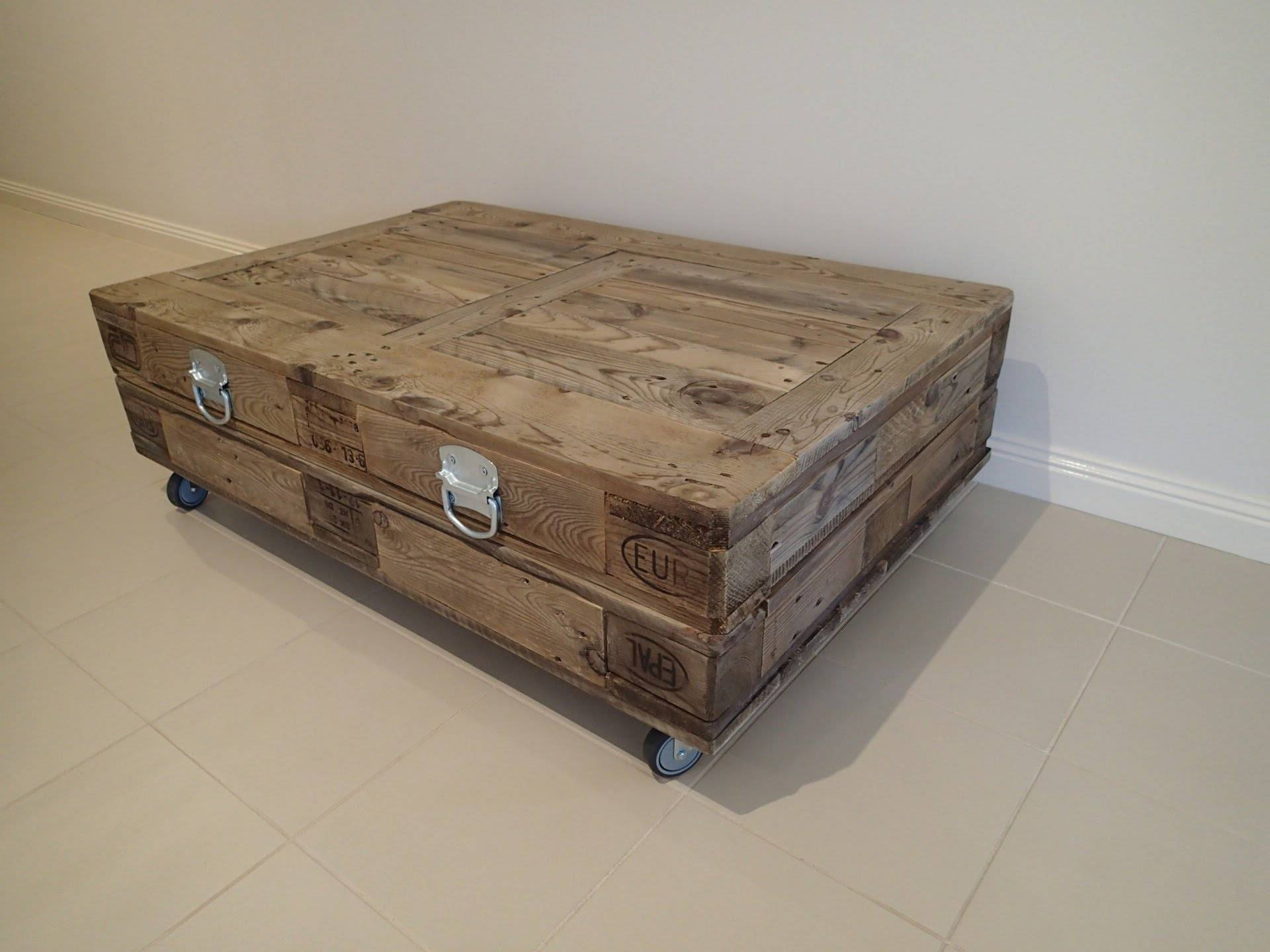 New Industrial Reclaimed Timber Pallet Coffee Table With Storage intended for Coffee Tables With Wheels (Image 27 of 30)
