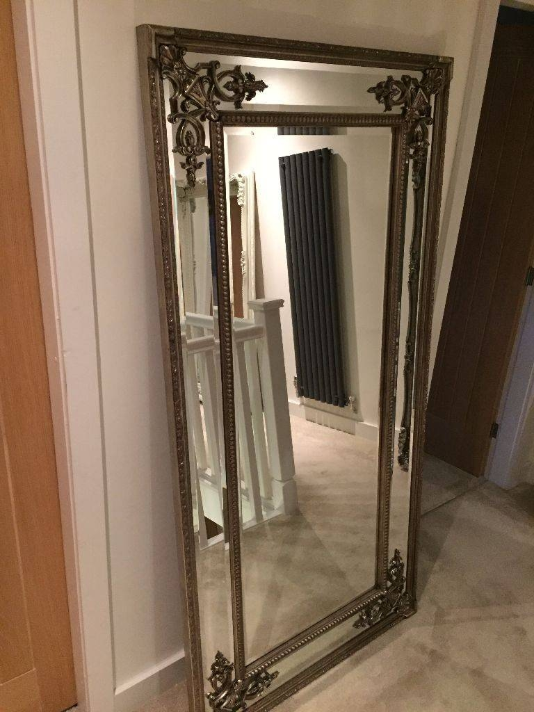 New Large Pewter Silver Oblong Leaner Wall Mirror 6Ft X 3Ft Ornate for Large Pewter Mirrors (Image 17 of 25)