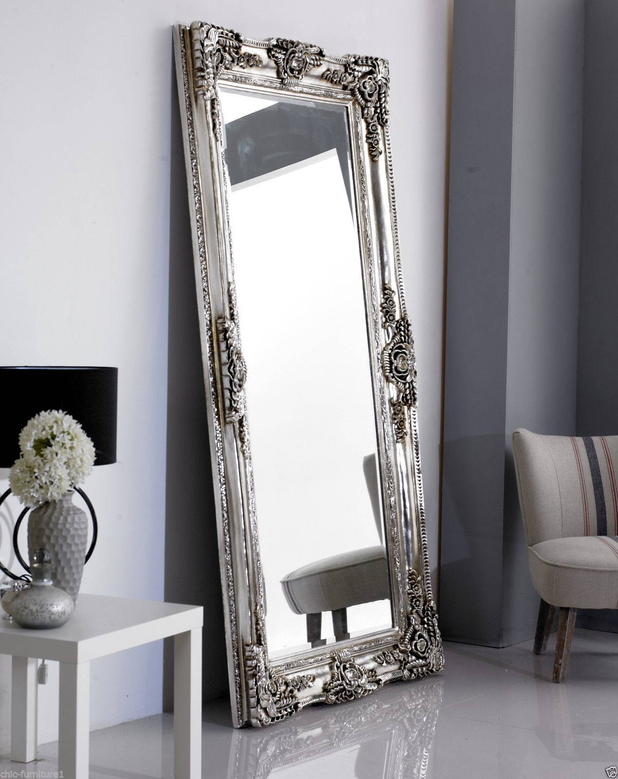 New!!! Large Rocco Leaner Silver Ornate Wall Mirror - 200X100Cm | Ebay with Silver Ornate Framed Mirrors (Image 13 of 25)