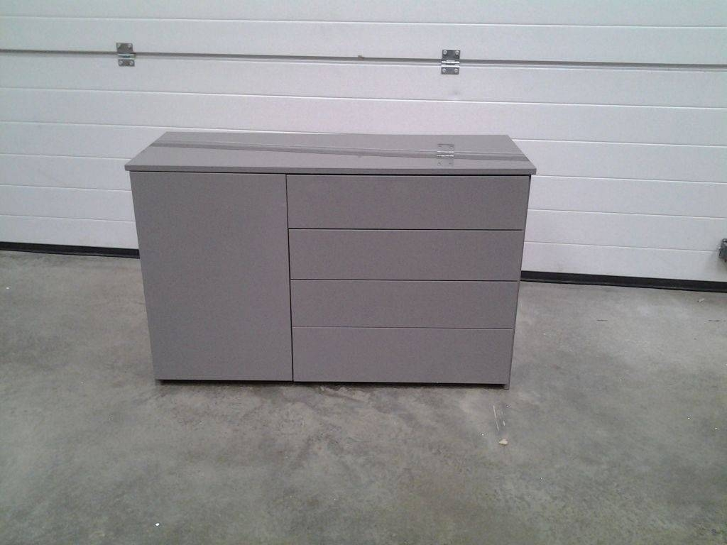New Mid Grey High Gloss Small Sideboard / Dresser. Four Drawers throughout Grey Gloss Sideboards (Image 18 of 30)