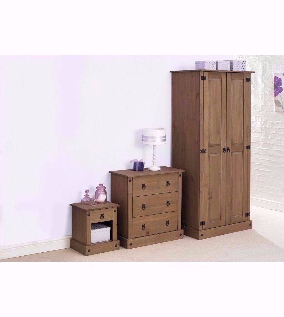 New Solid Pine 2-Piece Bedroom Wardrobe And Bedside In Dark Wood with Solid Dark Wood Wardrobes (Image 15 of 30)