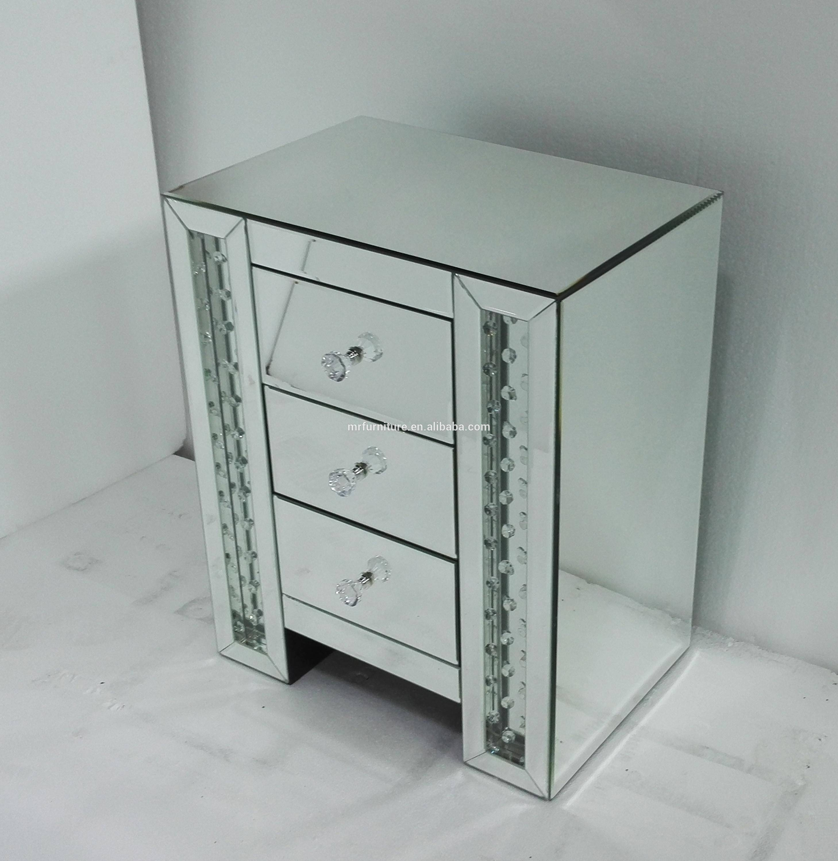 New Venetian Mirrored Floating Crystal Drawer Chest Bed Side Table with Venetian Mirrored Chest Of Drawers (Image 13 of 25)