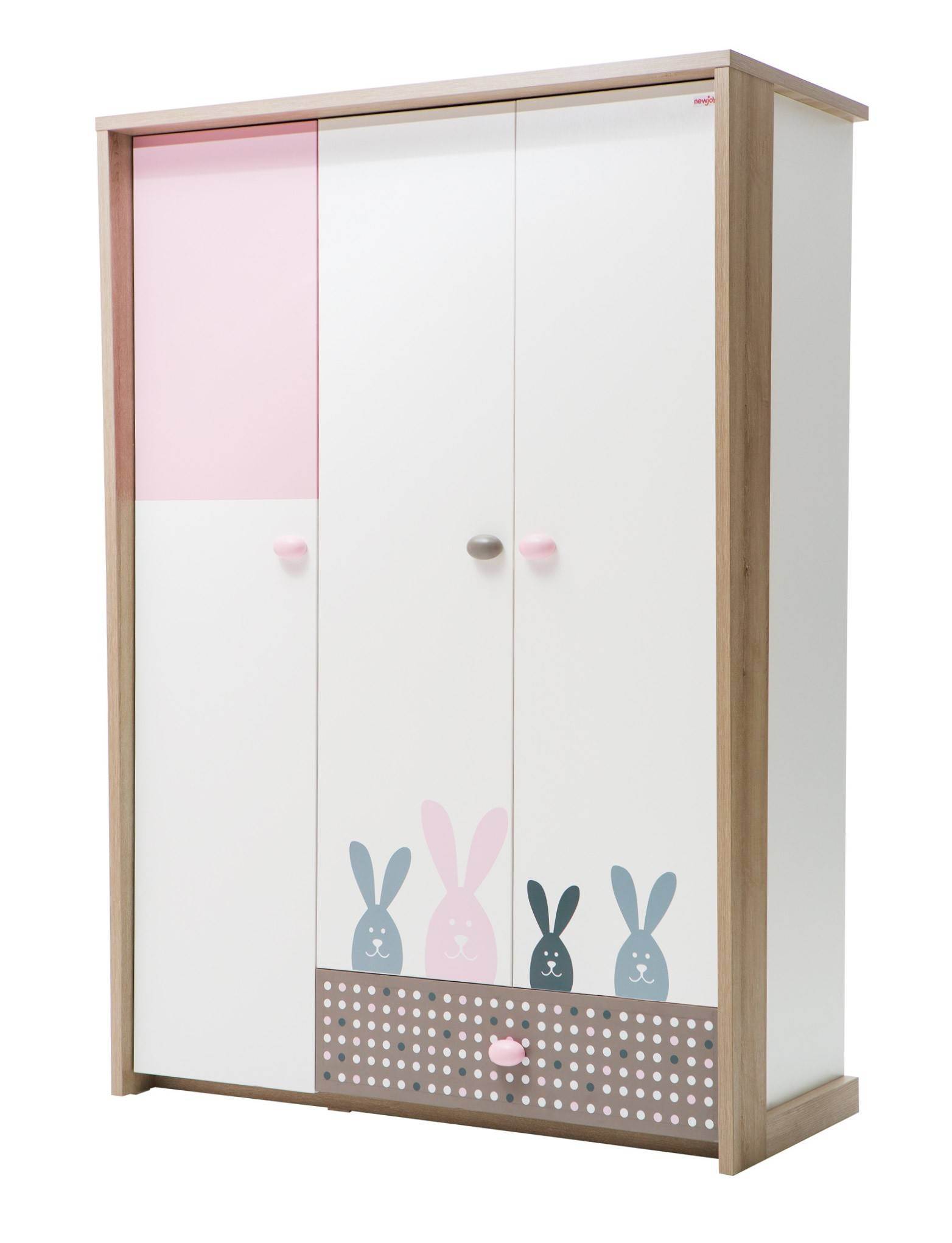 Newjoy Pink Bunny 3 Door Children's Wardrobe in Childrens Pink Wardrobes (Image 18 of 30)