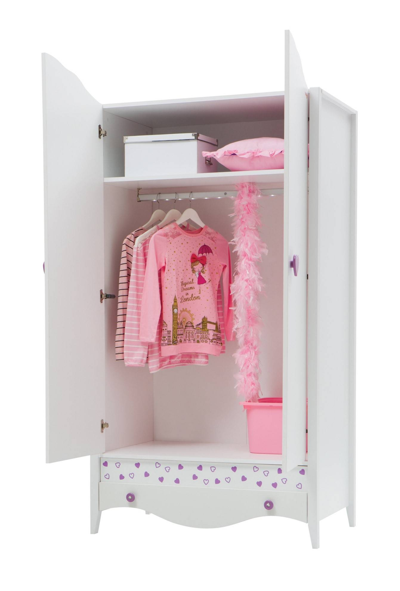 Newjoy Princess Children's 2 Door Wardrobe with The Princess Wardrobes (Image 6 of 15)