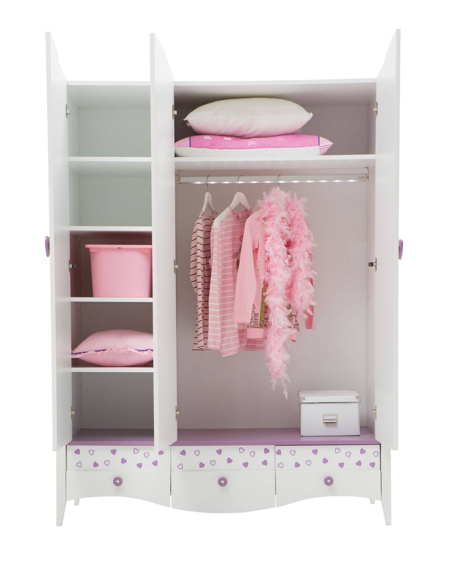 Newjoy Princess Children's 3 Door Wardrobe with The Princess Wardrobes (Image 8 of 15)