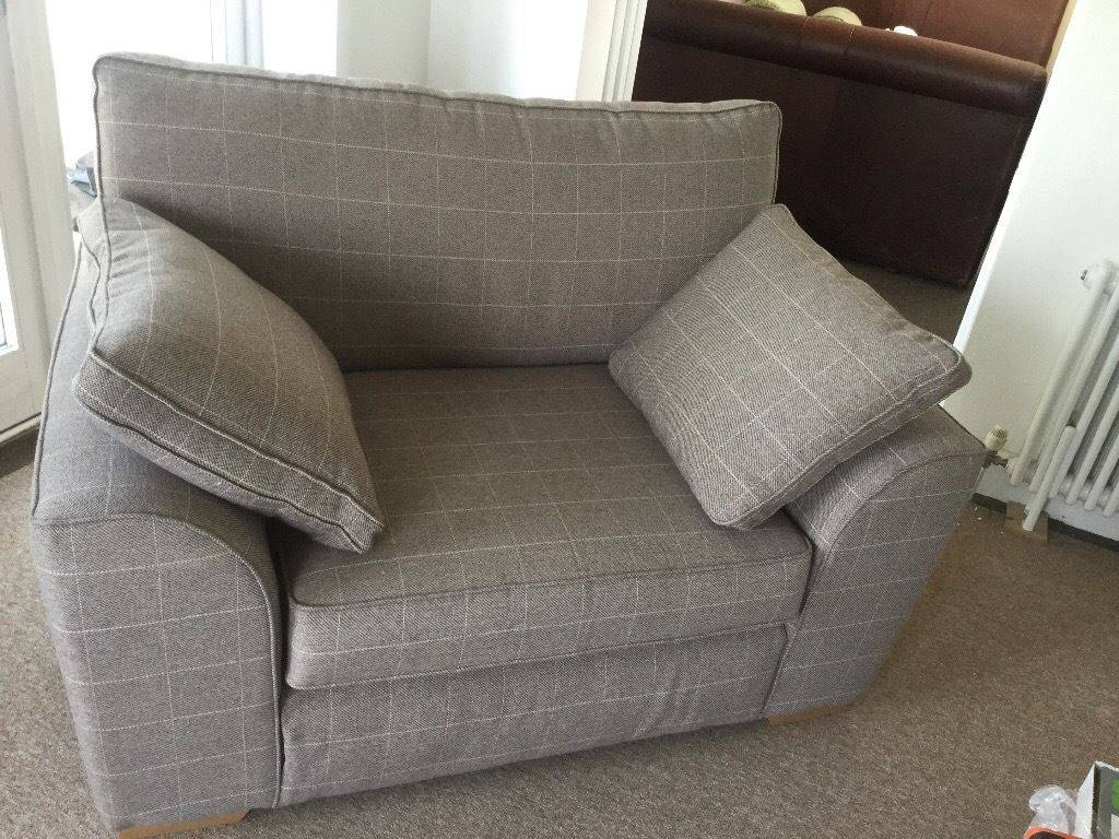 Next - Snuggle Chair, Small Sofa - Hardly Used - Stone/ivory Check inside Snuggle Sofas (Image 19 of 30)