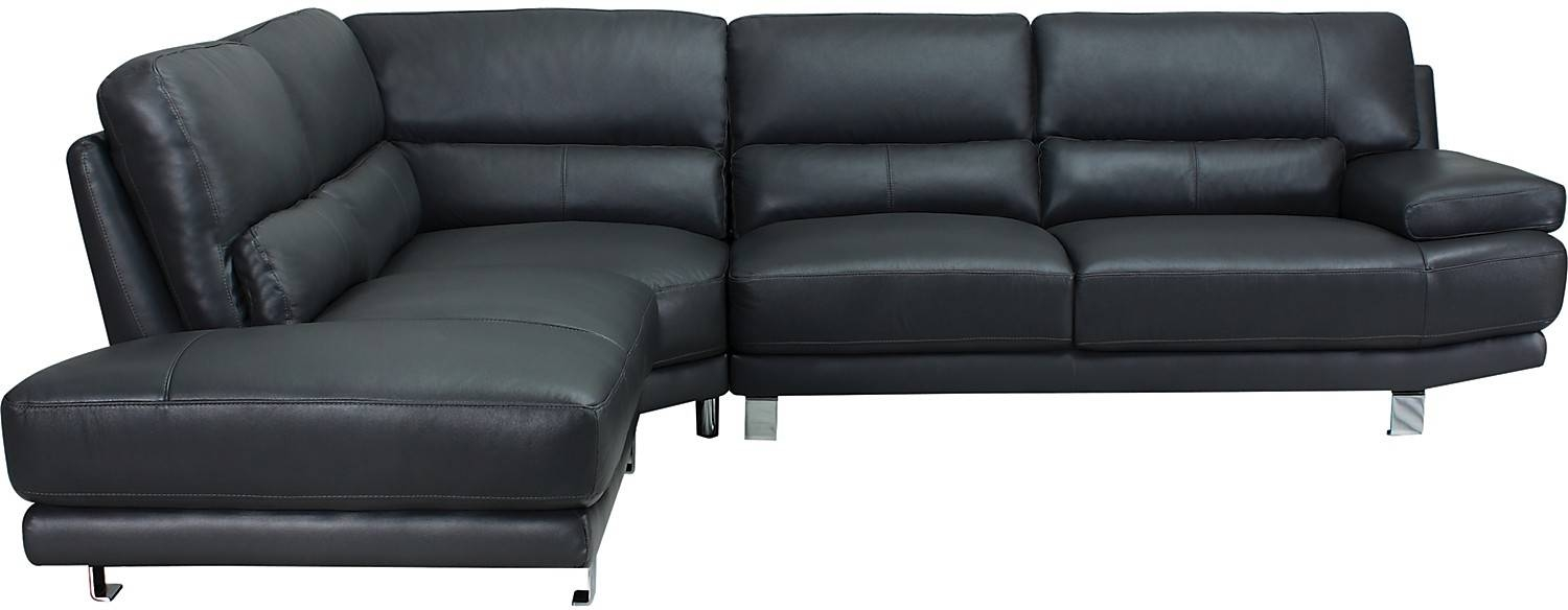 Nico 3-Piece Genuine Leather Left-Facing Sectional - Grey | The Brick pertaining to The Brick Leather Sofa (Image 19 of 30)