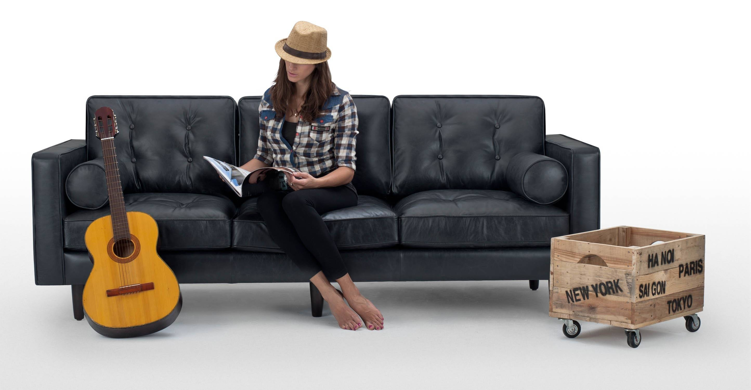 Nielsen 3 Seater Black Leather Sofa | Made with Black 2 Seater Sofas (Image 19 of 30)