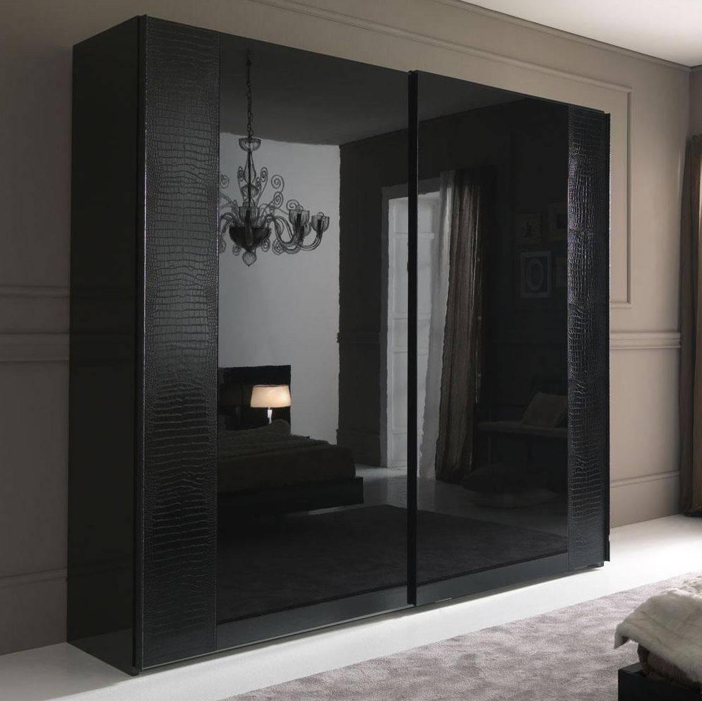Nightfly Black 2 Door Sliding Wardrobe | Armoires regarding Large Black Wardrobes (Image 13 of 15)