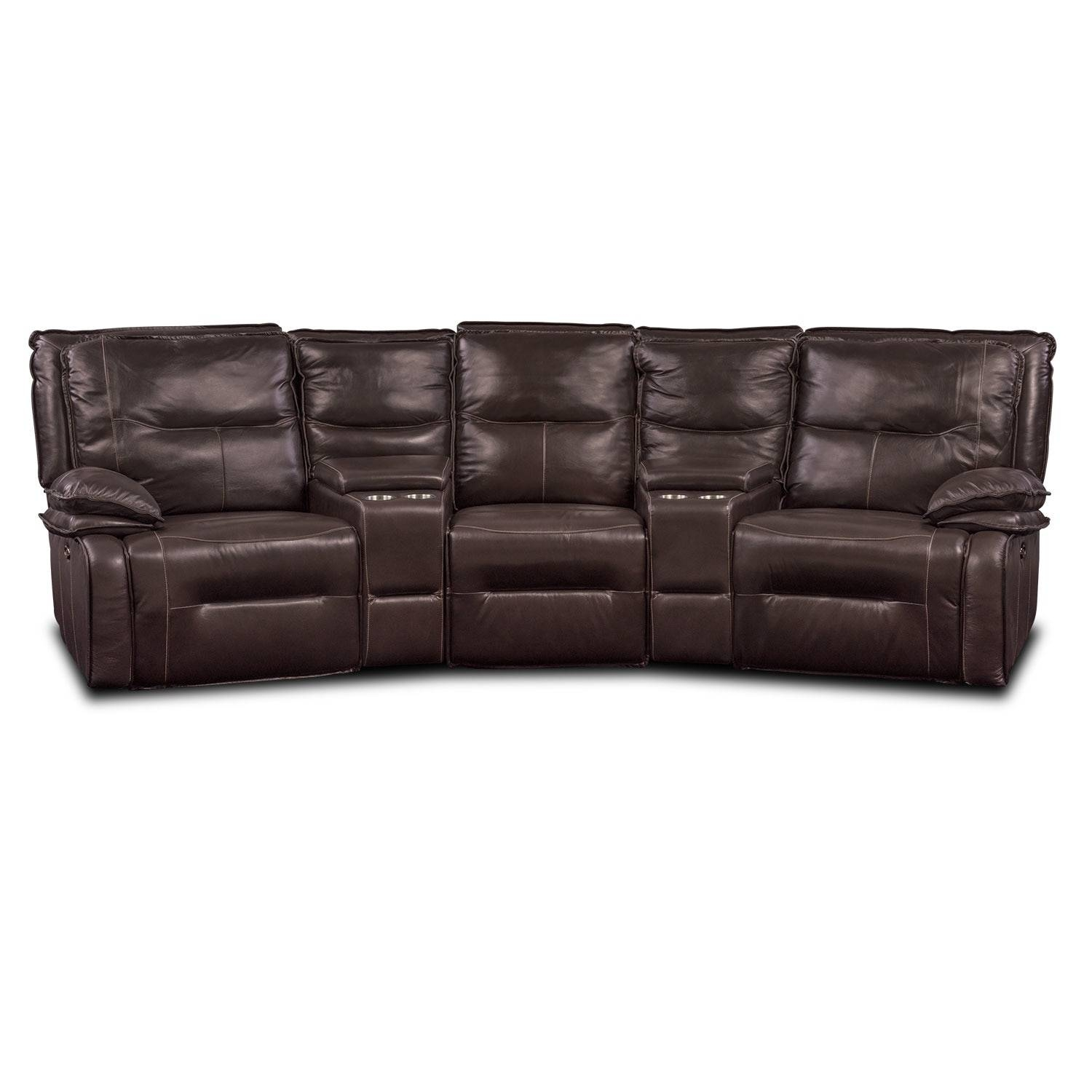 Nikki 5-Piece Power Reclining Home Theater Sectional - Brown within Theatre Sectional Sofas (Image 20 of 30)