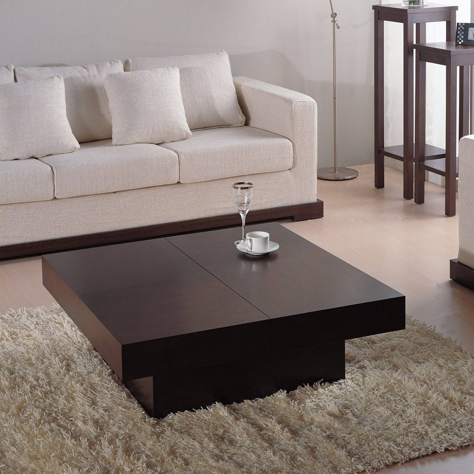 Nile Square Coffee Table - Dark Brown Oak | Hayneedle intended for Square Oak Coffee Tables (Image 16 of 30)