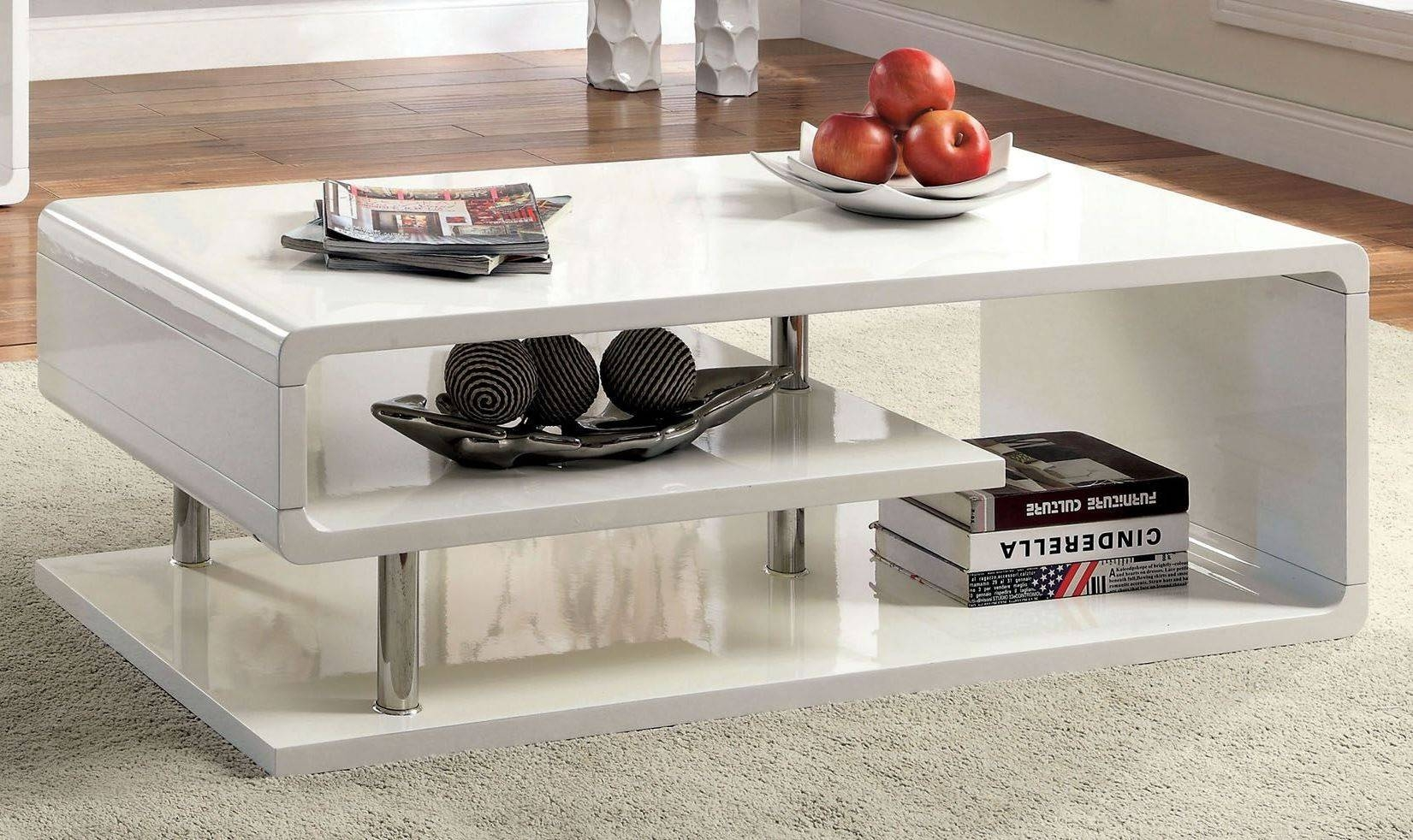 Ninove I White High Gloss Coffee Table From Furniture Of America within White High Gloss Coffee Tables (Image 24 of 30)