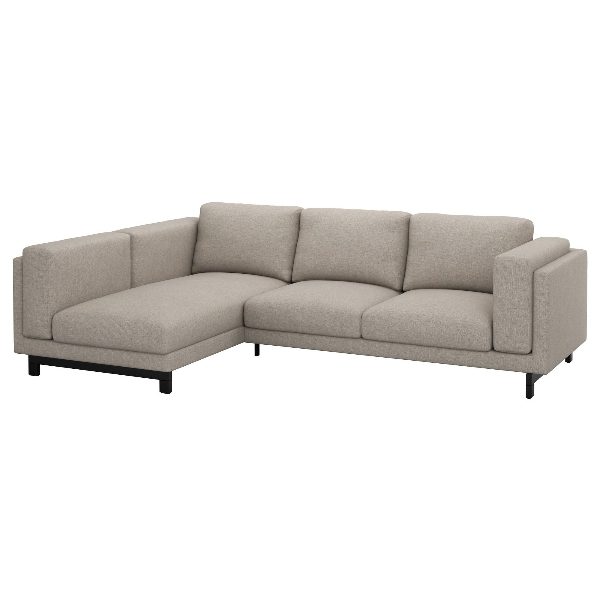 Nockeby Two-Seat Sofa W Chaise Longue Left Tenö Light Grey/wood - Ikea pertaining to Ikea Two Seater Sofas (Image 18 of 30)