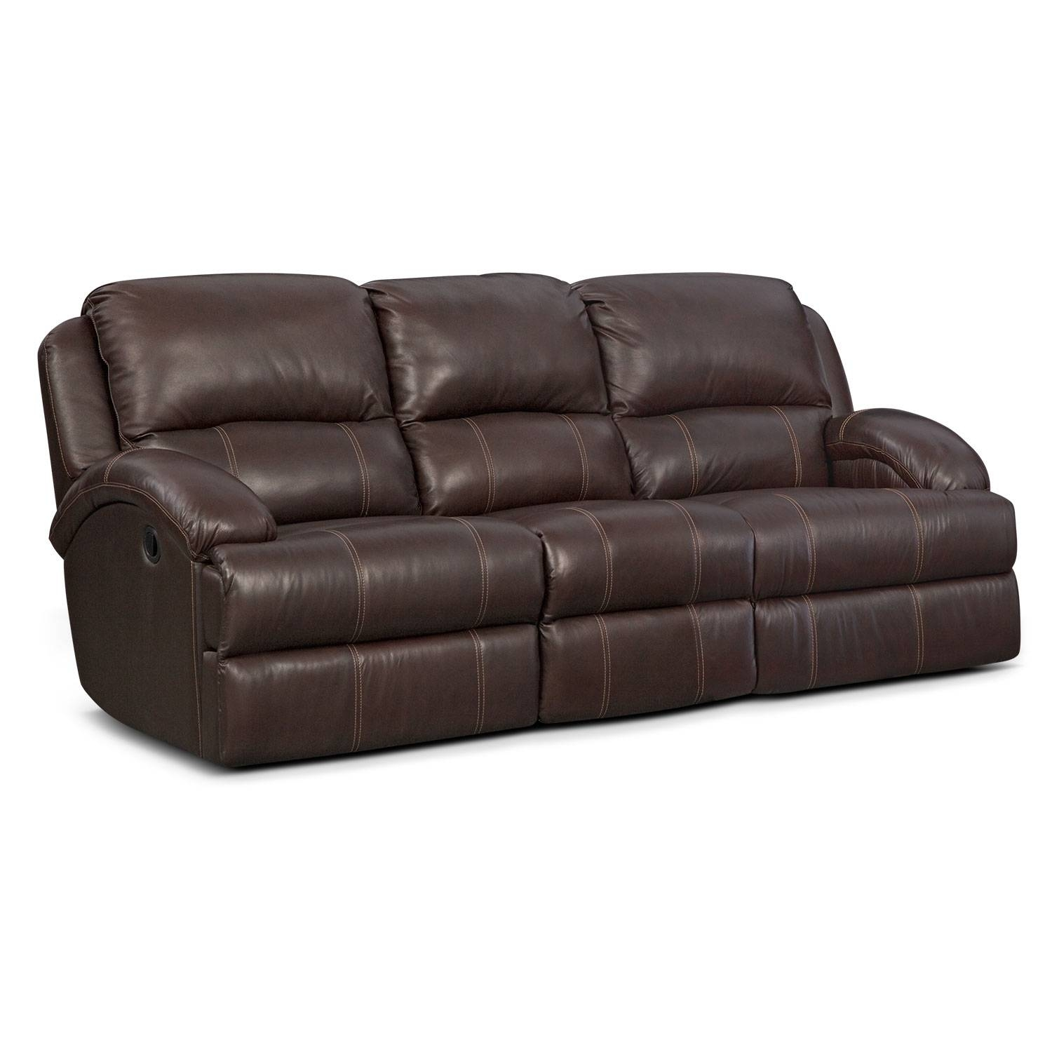Nolan Dual Reclining Sofa - Chocolate | American Signature Furniture with Recliner Sofa Chairs (Image 25 of 30)