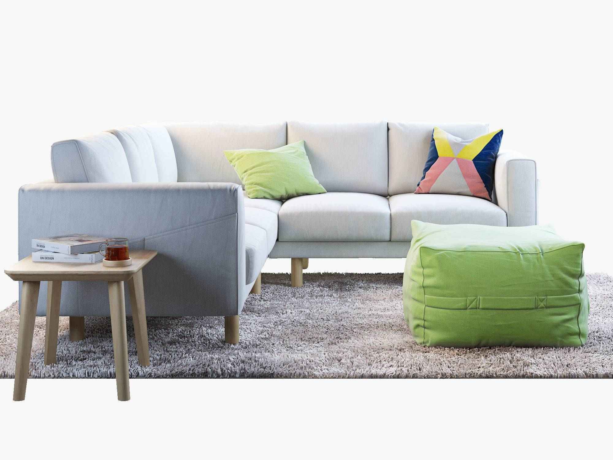 Norsborg Four-Seat Corner Sofa With Coffee Tables And Rug 3D Model with Corner Coffee Tables (Image 24 of 30)